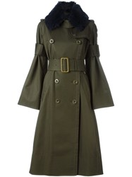 Sacai Fur Collar Military Coat Green