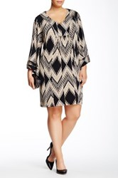 Robbie Bee Kimono Sleeve Printed Shift Dress Plus Size Multi