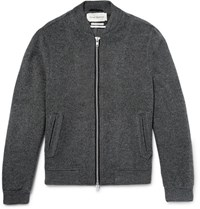 Oliver Spencer Bermondsey Wool Blend Bomber Jacket Dark Gray