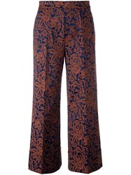 Twin Set Cropped Jacquard Trousers Brown