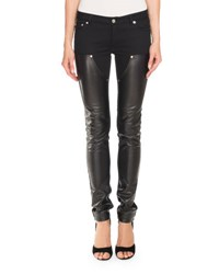 Givenchy Leather And Denim Biker Jeans Black