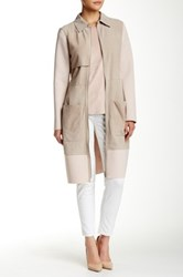 Zac Posen Beverly Suede Trench Coat Beige
