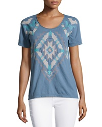 Jwla Geometric Embroidered Crew Neck Tee Denim Blue