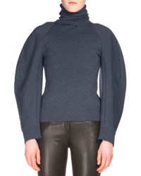 Balenciaga Ribbed Wide Sleeve Turtleneck Sweater Ink Encre