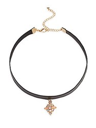 Cara Crystal Pendant Choker Necklace Gold