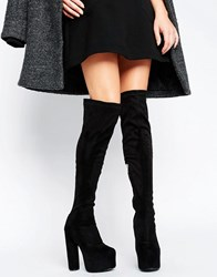 Truffle Collection Platform Round Heel Over The Knee Boot Black Micro