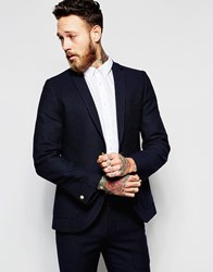 Heart And Dagger Textured Blazer In Skinny Fit With Gold Button Blue