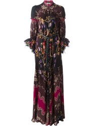 Etro Tulle Flare Sleeve Button Down Floral Print Maxi Dress Black