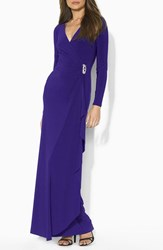 Lauren Ralph Lauren Women's Embellished Jersey Faux Wrap Gown Purple