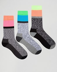 Asos Sports Style Socks With Neon Panels 3 Pack Grey
