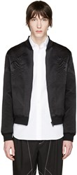 Alexander Mcqueen Black Silk Embroidered Bomber Jacket