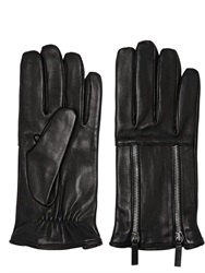 Double Zip Nappa Leather Gloves