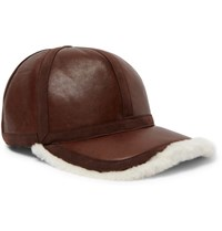 Neil Barrett Shearling Lined Leather Cap Brown
