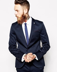 Noose And Monkey Skinny Suit Jacket With Piping Blue