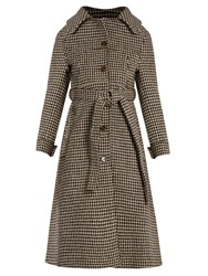 Vetements Hound's Tooth Wool Trench Coat Brown Multi