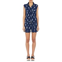 Fabric Hunted And Collected Women's Ikat Print Romper Blue