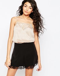 Vila Bet Lace Insert Cami Rugby Tan Cream