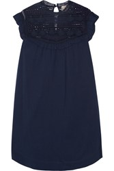 Sea Crochet Paneled Cotton Mini Dress Midnight Blue