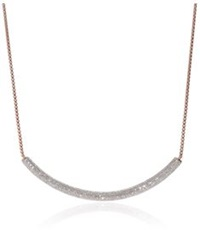 Monica Vinader Esencia Long Pave Diamond Bar Necklace Rose Gold