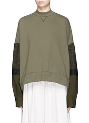 Mame Ribbon Woven Sleeve French Terry Sweatshirt Green