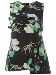 Marni Floral Asymmetric Ruffle Top Black