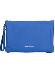 Salvatore Ferragamo Zipped Clutch Blue