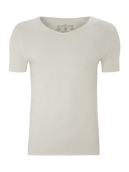Label Lab Band Pigment Jersey Scoop Neck T Shirt Off White