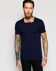 Asos Muscle T Shirt With Square Neck In Navy Navy
