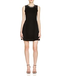 Magaschoni Knit And Woven Embellished Dress Black
