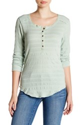 Melrose And Market Long Sleeve Lace Henley Tee Green Fondant