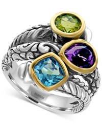 Effy Multi Gemstone 3 1 4 Ct. Tw. Statement Ring In Sterling Silver And 18K Gold