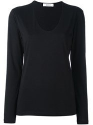 Allude V Neck Longsleeved Blouse Black