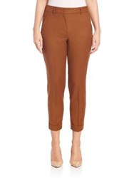 Sportmax Abramo Cropped Flannel Pants Brown