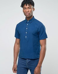 Bethnals Alex Short Sleeve Shirt With Half Placket Navy