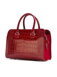 Giorgio Armani Crocodile Effect 'Bauletto' Tote Red