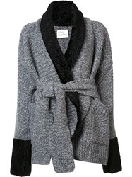 Hillier Bartley Contrast Belted Cardigan Grey