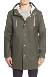 Men's Stutterheim 'Stockholm' Hooded Longline Raincoat Green