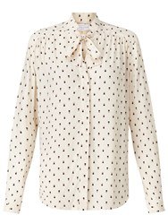 John Lewis Collection Weekend By Mini Geo Print Pussybow Blouse Ivory