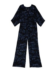 Melissa Mccarthy Seven7 Plus Brushstroke Jumpsuit Evening Blue