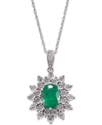 Macy's Emerald 1 Ct. T.W. And Diamond 1 5 Ct. T.W. Pendant Necklace In 14K White Gold