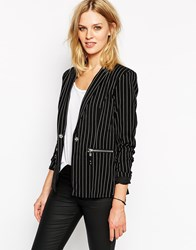 Noisy May Pinstripe Blazer Black