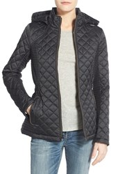 Women's Laundry By Design Quilted Jacket With Detachable Hood Black