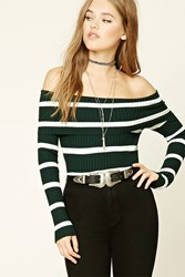 Forever 21 Stripe Off The Shoulder Top Hunter Green Cream
