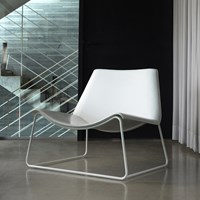 Modloft Earl Painted Steel White Leather Lounge Chair