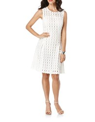 Rafaella Geometrical Lace Femme Fit And Flare Dress White