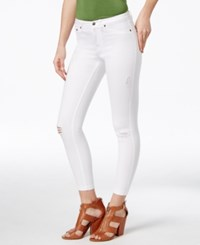 Hue Ripped Denim Skimmer Leggings White