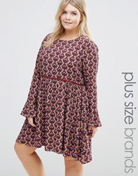 Alice And You Long Sleeve Printed Skater Dress Multi