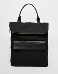 Whistles Verity Nylon Backpack With Leather Trims Black