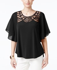 Ny Collection Illusion Flutter Sleeve Top Black