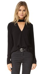 Wayf Take Me Away Wrap Top Black